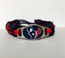 Houston Texan Bracelet, Leather,Adjustable.