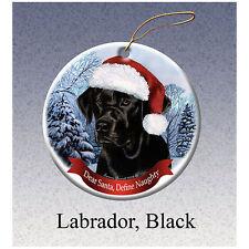 Labrador Retriever Black Howliday Porcelain China Dog Christmas Ornament