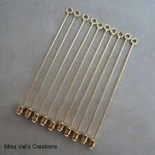 12 gold plated beadable lapel jewelry stick pins brooch