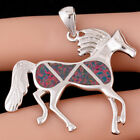 Horse Pony Black Cherry Red Fire Opal Silver Jewellery Necklace Pendant