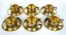 6 x Support De Verre à thé argent VIENNE um 1900 ART NOUVEAU