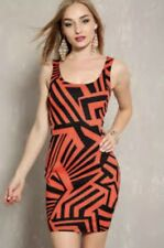 NWOT Sexy Red Orange & Black Geometric Print Cutout Bodycon Dress