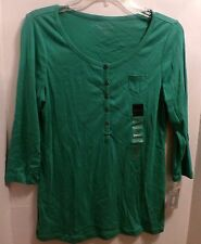 Relativity partial button green short sleeve t-shirt-PM-New with tags