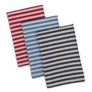 Design Imports PARIS PETITE STRIPE Cotton Dishcloths Set of 3 Red, Blue, Black