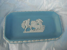 Vintage Blue Jasper Ware Wedgewood Pin Tray Angel & Pair Of Horses & Man