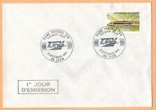 """1984-Enveloppe""""Rame postale-TGV-/Rail-Ob.Lyon(69).-Yt.2334"""