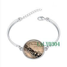 Clarinet and Music glass cabochon Tibet silver bangle bracelets wholesale