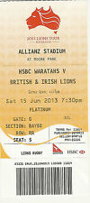 British & Irish Lions v NSW Waratahs 15 Jun 2013 RUGBY TICKET