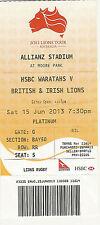 British & Irish Lions v NSW Waratahs 15 Jun 2013 RUGBY TICKET