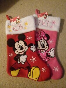 """NEW Disney Minnie Micky Mouse Pink / Red Fabric Stocking - 20"""" Snowflakes"""