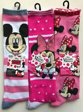 3 Pairs Knee High Socks Assorted Girl Mickey Minnie Size 6-8 Pink NEW