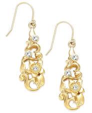 LAUREN Ralph Lauren 'Nigiri' Crystal Flower Gold-Tone Openwork Drop Earrings NWT