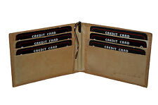 MONEY CLIP WALLET 6 CREDIT CARD SLOTS NEW TAN LEATHER GIFT IDEA FREE SHIPPING