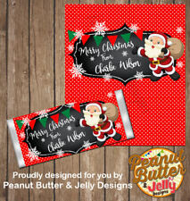 Personalised Christmas Chocolate Bar Wrapper (only) x10 wraps ($1 ea)