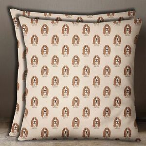 Home Decor Beige 2 Pcs Cotton Poplin Basset Hounds Dog Print Cushion Cover