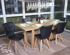 6x chaise de salle à manger Malmö T836, style rétro ~ similicuir, noir