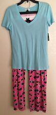 NWT PJ Salvage S Small Knit Lounge Pants Lace Top Pajama Set 2 BLUE PINK GLASSES