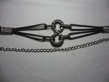 Silver Chain Rhinestone Belt 110cm Pre-owned