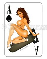 EYE CANDY sexy bomber pin-up girl playing card style sticker Candice Cardinale R