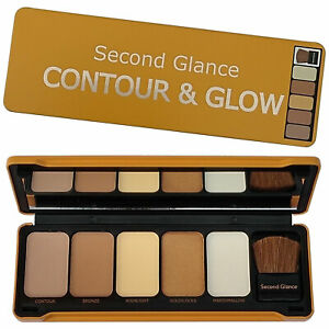 Contour & Glow Highlighter Palette Second Glance 5 Colour Powder Make Up Set Tin