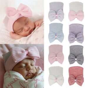 for Baby Girls Soft Baby Hats Cap with Bow Newborn Hospital Hat Nursery Beanie