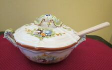 """Italy Lidded Tureen Spoon Handcrafted Painted Vintage Signed Ascolip Italia 8"""""""