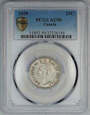 1939 PCGS AU 50 Canada / Canadian Silver Quarter