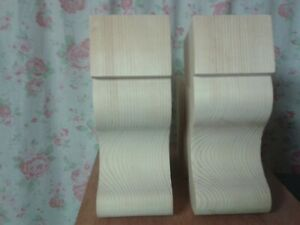 PAIR LARGE WOODEN HANDMADE CORBELS