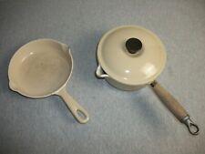 Le Creuset Enameled Cast Iron #16 Fry Pan and 1-Qt Sauce Pan - Dune-Almond Beige