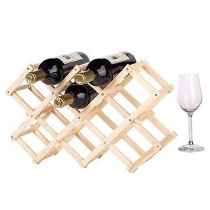 10 Bottle Red Wine Rack Holder Mount Bar Display Shelf Folding Wood Organiser AU