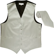 New Men's Formal Tuxedo Vest Waistcoat_Necktie solid silver wedding prom