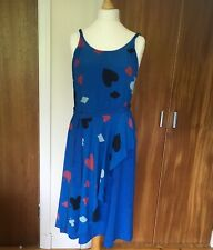 Vintage Mandy Pothecary Dress 100% Silk Blue Alice Wonderland 12