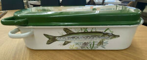Antique European Enamel Fish Poacher Steamer w Drainer Green White Asparagus