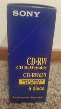 Sony  rewritable cd 5 disks 650 mb CD-RW650