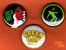 "Set of three 1"" Green Day pins/buttons band rock alternative punk"