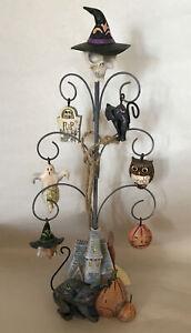 "Jim Shore Halloween ~ SHRIEKING TREE w/ Set of 7 Wire Tree Ornaments ~ NIB ~9.5"""