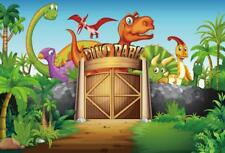 Cartooon Dino Park Gate Photography Background 7x5ft Vinyl Dinosaur Backdrops