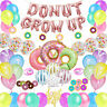 60 Pcs Donut Grow Up Party Decoration Kit Set Doughnut Birthday Party Supply