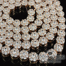 """14k Rose Gold Finish High Quality Lab Diamond Flower Cluster Chain Necklace 30"""""""