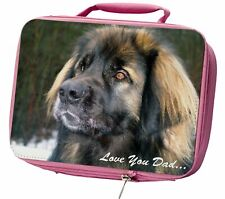 More details for leonberger dog 'love you dad' insulated pink school lunch box bag, dad-68lbp