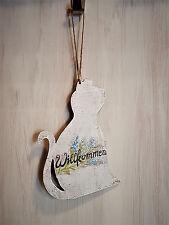 """Katze Türschild Holz """" Willkommen """" shabby vintage Deko Türhänger Dekoschild"""