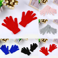 UK Adults Womens Mens Soft Warm Finger knit Gloves Stretch Winter 6 Colors