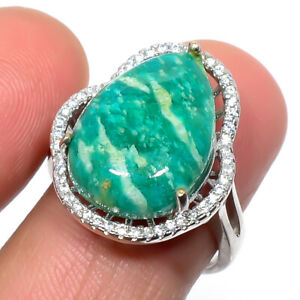 Russian Amazonite & Cz Solid 925 Sterling Silver Jewelry Ring s.Ad T8663
