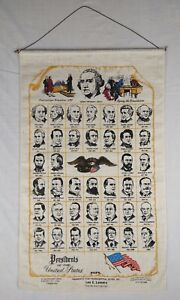 Vintage American USA Presidents Wall Hanging - Rolled Cloth Tapestry Display