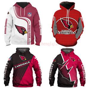 Arizona Cardinals Fan's Hoodies Hooded Pullover Sweatshirt Casual Jacket Coat