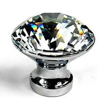 10pcs 30mm Round Diamond Crystal Glass Door Pull Drawer Knob Handle Cabinet
