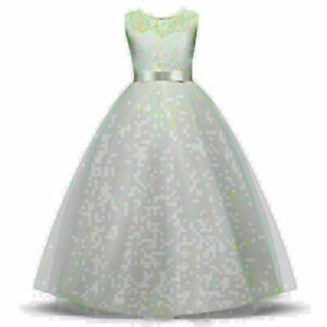 Toddler Kids Baby Princess Chiffion Girl Pageant Wedding Party Tulle Tutu DressP