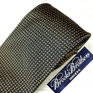 BROOKS BROTHERS Made USA Woven England 100% Silk Tie Dk Blue + Gold Basket-Weave