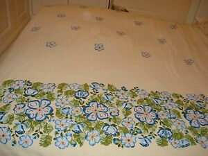 DOUBLE BEDCOVER - DECORATED WITH CROSS STITCH