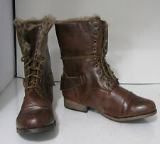 new ladies Brown Lace up Military Combat Winter sexy ankle boots size  7.5